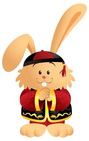 Cute cartoon bunny wearing a traditional Chinese outfit Ilustração