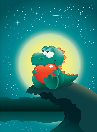 Valentine night scene with an adorable baby dinosaur deeply in love. The vector file is layered for easier editing. Great spacing for text, perfect for any Valentines Day illustration needs!
