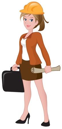 arquitecto caricatura: Hermoso arquitecto mujer sosteniendo un malet�n y blueprint.