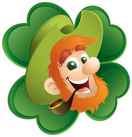 saint patricks day: Fun Leprechaun And Four-Leaf Clover