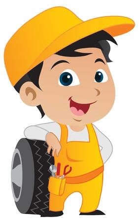 carro caricatura: Lindo chico mec�nico poco inclinado contra los neum�ticos de un auto.