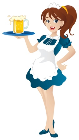 Cartoon illustration of a beautiful sexy waitress standing and holding a round tray.