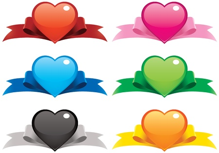 Collection of vector illustrations of hearts on ribbons. File is layered for easier editing, you can even mix-and-match the hearts and ribbons! Perfect for your valentine web buttons, ornaments, banners and cards! Imagens - 8617219