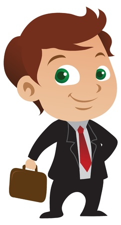 Cute young businessman with a positive attitude holding a briefcase. Stock Vector - 8617206