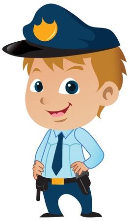 Cute little cartoon policeman posing proudly. Vector