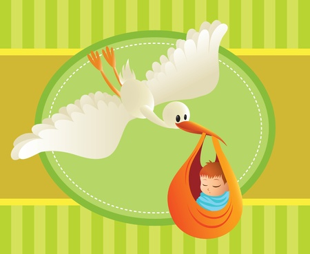spacing: Illustration of a stork delivering a baby on colorful background. Great spacing for text. Perfect for cards and banners.