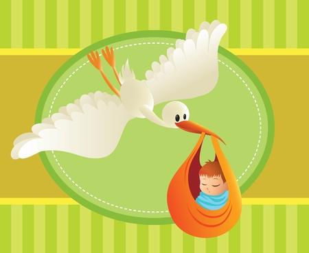 delivering: Ilustraci�n de una cig�e�a generar� a un beb� de fondo multicolor. Gran espaciado del texto. Perfecto para tarjetas y pancartas.