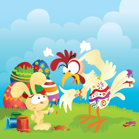 Angry chicken and Easter bunny cartoon. Lots of spacing for custom text. Great for greeting cards, banners and other print medias. Vector