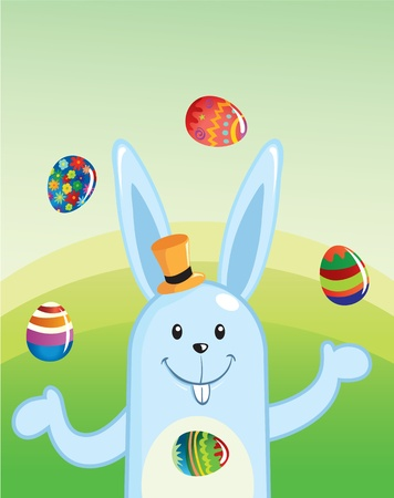 Cartoon Easter Bunny Juggling Painted Eggs