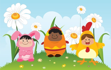 Fun Children Wearing Easter Theme Costumes Vector