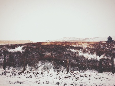 covered fields: Snow covered fields in Rivington