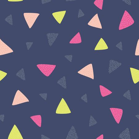 Triangle seamless vector with blue background. Perfect for fabric, wallpaper, invitations, scrapbooking, homeware, kids.