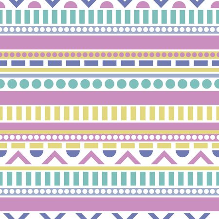 Pastel shapes stripe vector repeat pattern. Perfect for gift, products, scrapbooking, wallpaper, home. Repeat pattern design.