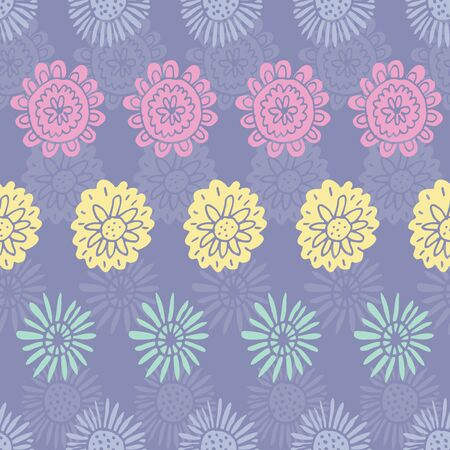 Fresh floral pastel vector repeat. Perfect for home, kids, stationary, wrapping, scrapbooking.  イラスト・ベクター素材