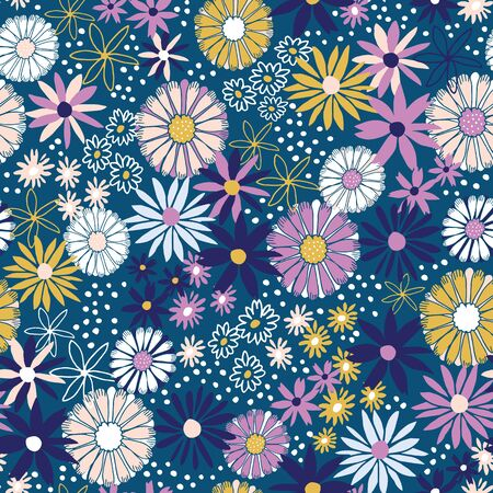 Uplifting summer floral vector repeat pattern with navy background.
