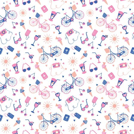 Holiday abroad pastel summer pattern. Design for fabric, wrapping, textile, wallpaper, apparel. Vector illustration