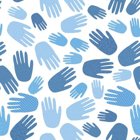Repeating hands, blue gloves. Great for backgrounds stationary, homeware, wrapping paper. Seamless vector repeat pattern.