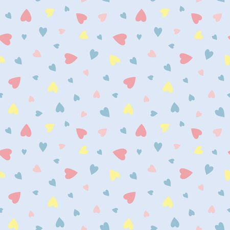 Love hearts on pale blue background. Pattern for fabric, wrapping, textile, wallpaper, apparel. Vector illustration