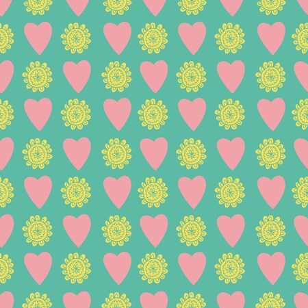 Uplifting yellow and orange summer floral and hearts vector repeat pattern. Pattern for fabric, backgrounds, wrapping, textile, wallpaper, apparel. Vector illustration