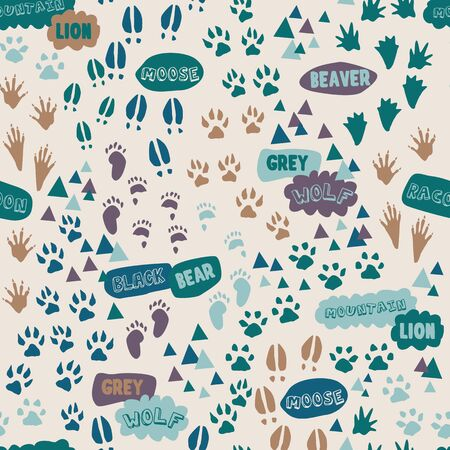 Animal tracks foot print trails. Great for home decor, wrapping, scrapbooking, wallpaper, gift, kids.