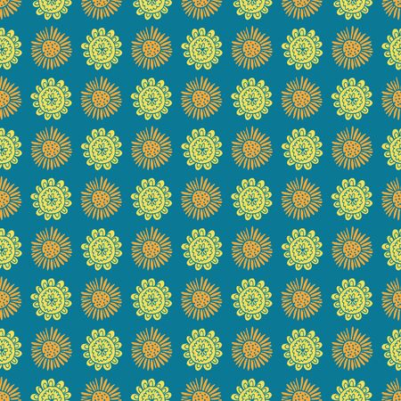 Uplifting yellow and orange summer floral vector repeat pattern. Pattern for fabric, backgrounds, wrapping, textile, wallpaper, apparel. Vector illustration Ilustração