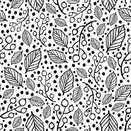 Leaves and berries with polka dots. Vector repeat. Great for home decor, wrapping, scrapbooking, wallpaper, gift, kids, apparel. Illustration