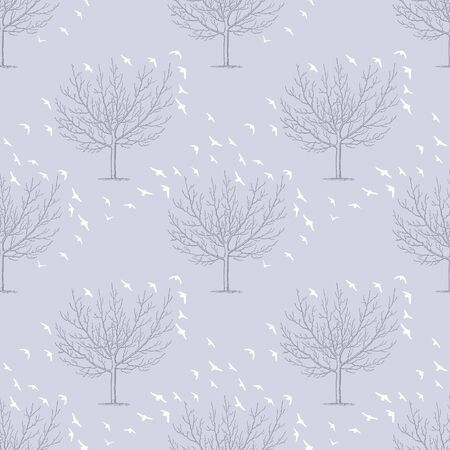 Trees with flocks of birds. Vector repeat. Great for home decor, wrapping, scrapbooking, wallpaper, gift, kids, apparel.
