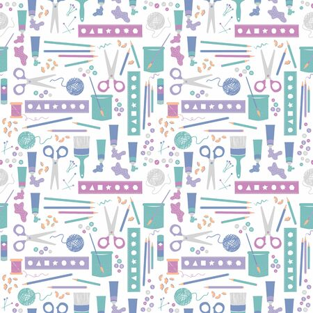 Craft supplies, stationary, painting, drawing and sewing. Vector repeat. Great for home decor, wrapping, scrapbooking, wallpaper, gift, kids, apparel.