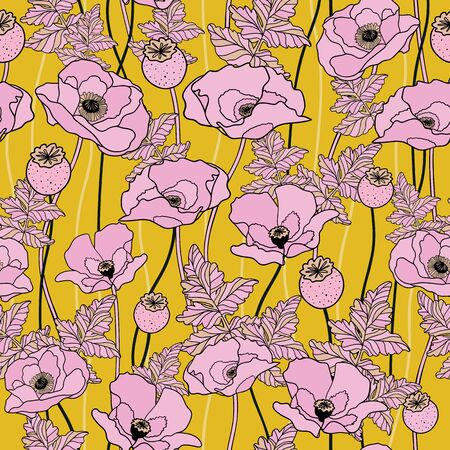 Poppy bloom floral. Vector repeat pattern. Great for home decor, wrapping, fashion, scrapbooking, wallpaper, gift, kids, apparel.
