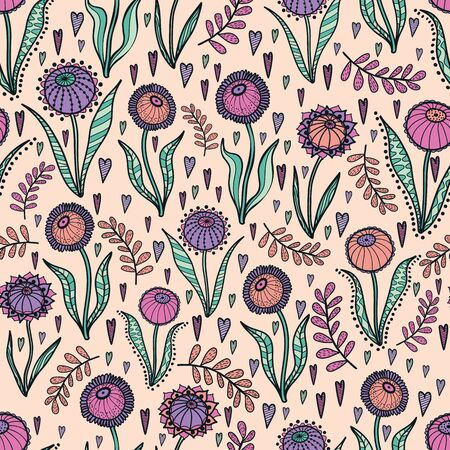 Retro 60s floral. Vector repeat pattern. Great for home decor, wrapping, fashion, scrapbooking, wallpaper, gift, kids, apparel. Vektorgrafik