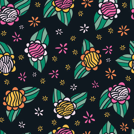 Retro 60s floral. Vector repeat pattern. Great for home decor, wrapping, fashion, scrapbooking, wallpaper, gift, kids, apparel. Vettoriali