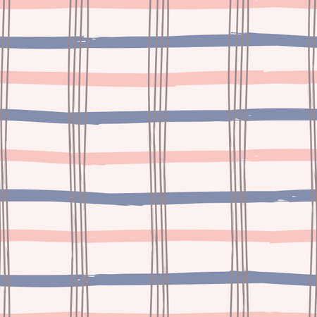 Textured gingham check overlapping stripe.Vector repeat pattern. Great for modern wallpaper, backgrounds, invitations, packaging design projects. Surface pattern design.