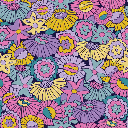 Brights and pastel retro 60s floral. Vector repeat pattern. Great for home decor, wrapping, fashion, scrapbooking, wallpaper, gift, kids, apparel.