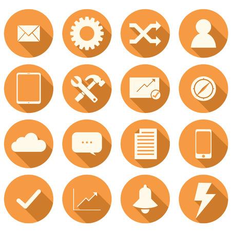 Conjunto de 16 iconos planos naranja para los negocios Foto de archivo - 44498292
