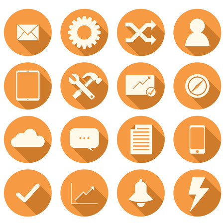 Set of 16 orange flat icons for business