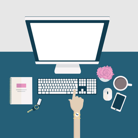 Flat illustration of a stylish home office desk or workspace with hand clicking keyboard