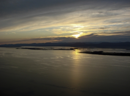 airplane ultralight: Saint-Lawrence river from bird s view Stock Photo