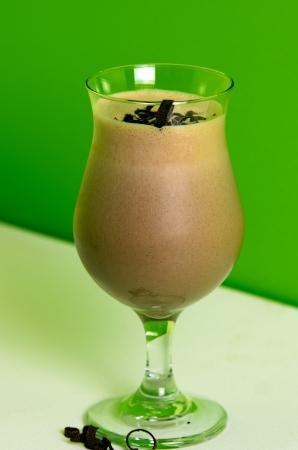 chocolate shake: Chocolate shake on green and white background