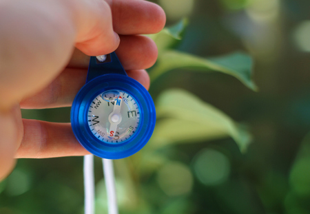 rule of thirds: Compass in hand blue with leaves in background