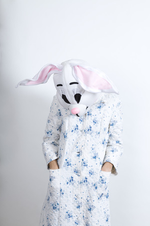 parody: Bunny difficult to wake in the morning he seems to be depressed dressing-up clothes and conceptual parody