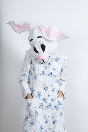 parody: bunny difficult to wake in the morning dressing-up clothes and conceptual parody