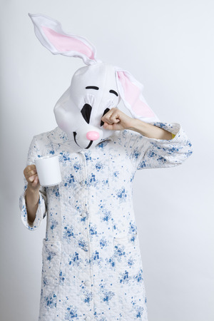 rubbing noses: Rabbit difficult to wake in the morning Rubbing ones eyes and drinking a big cup of coffee dressing-up clothes and conceptual parody Stock Photo