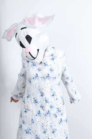 Bunny difficult to wake in the morning He stretched lazily dressing-up clothes and conceptual parody