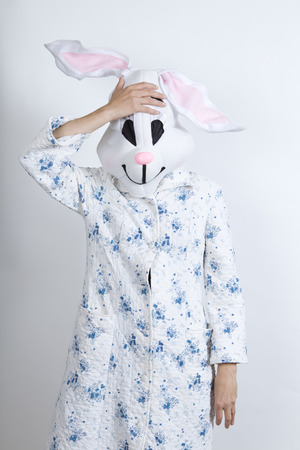 parody: Rabbit difficult to wake in the morning he seems to have forgotten something dressing-up clothes and conceptual parody