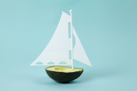 avocado half with white sail on a turquoise background. minimal and quirky color still life photography