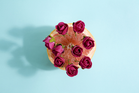 poetic: Minimalist and poetic composition of red roses growing in a grapefruit. Minimal color still life photography