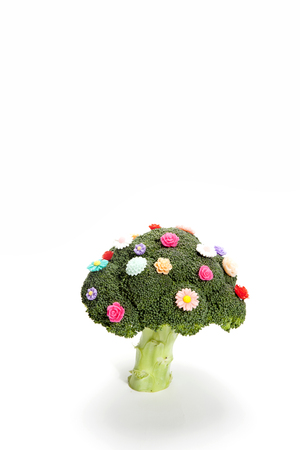 a diversion of a standing broccoli covered with numerous plastic flowers isolated on a white background. Humorous metaphor of a bouquet of flowers. Minimal color still life photography Stock Photo