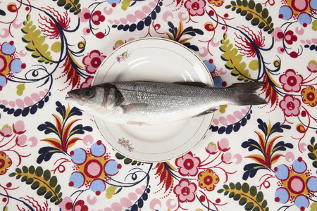 A bass fish inside a flower plate hidden on a flowery fabric. Camouflage game. Minimal color still life photography. Stock Photo