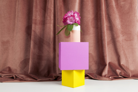 bicolor vase with pink flowers of rhododendron on colored cubes in equilibrium. Minimal still life color photography