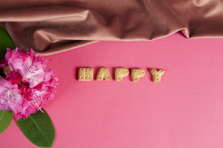 zoom of the word happy written in dry biscuit letters in front of a curtain of old pink velvet. Minimum color still life